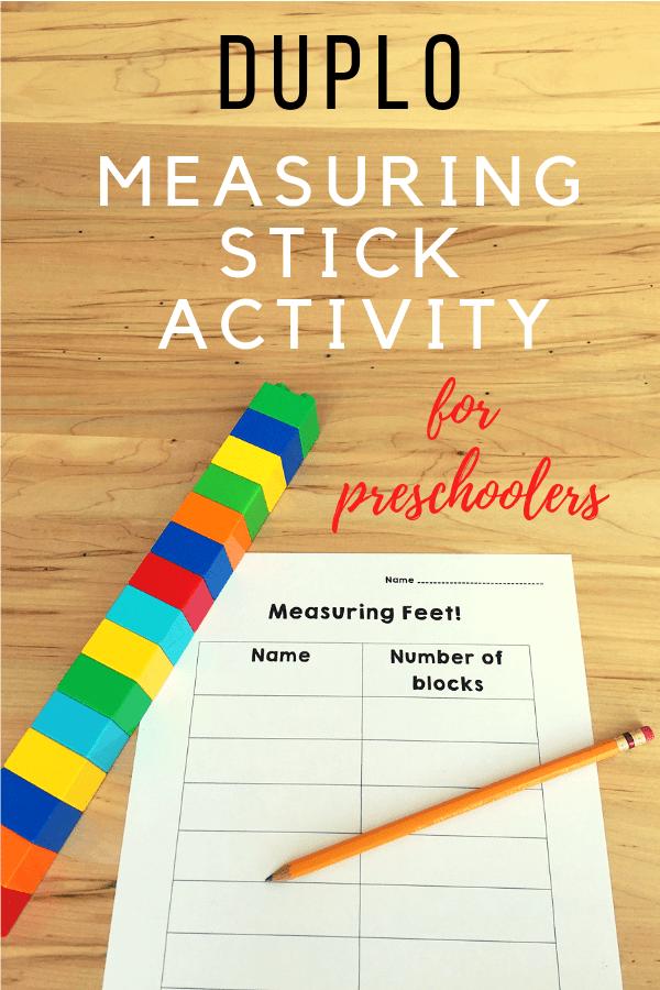 Duplo measuring stick activity for preschoolers