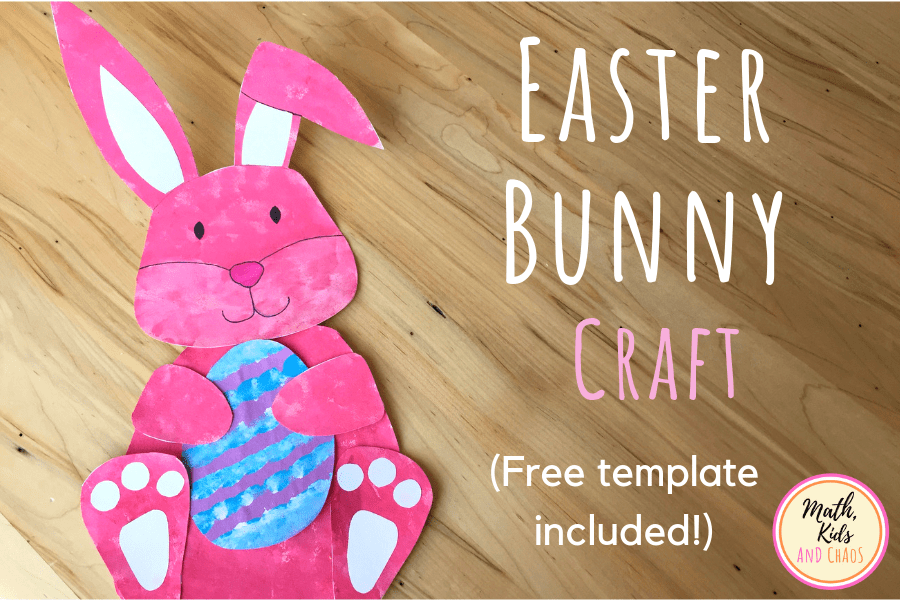 Paper Easter bunny craft on table with the text 'Easter Bunny Craft - free template included