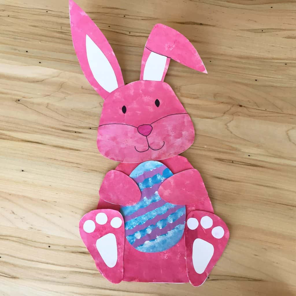 Finished Easter bunny craft on table
