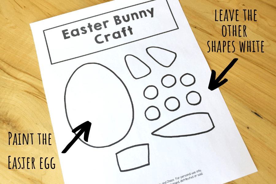 First page of bunny craft template laid out on table