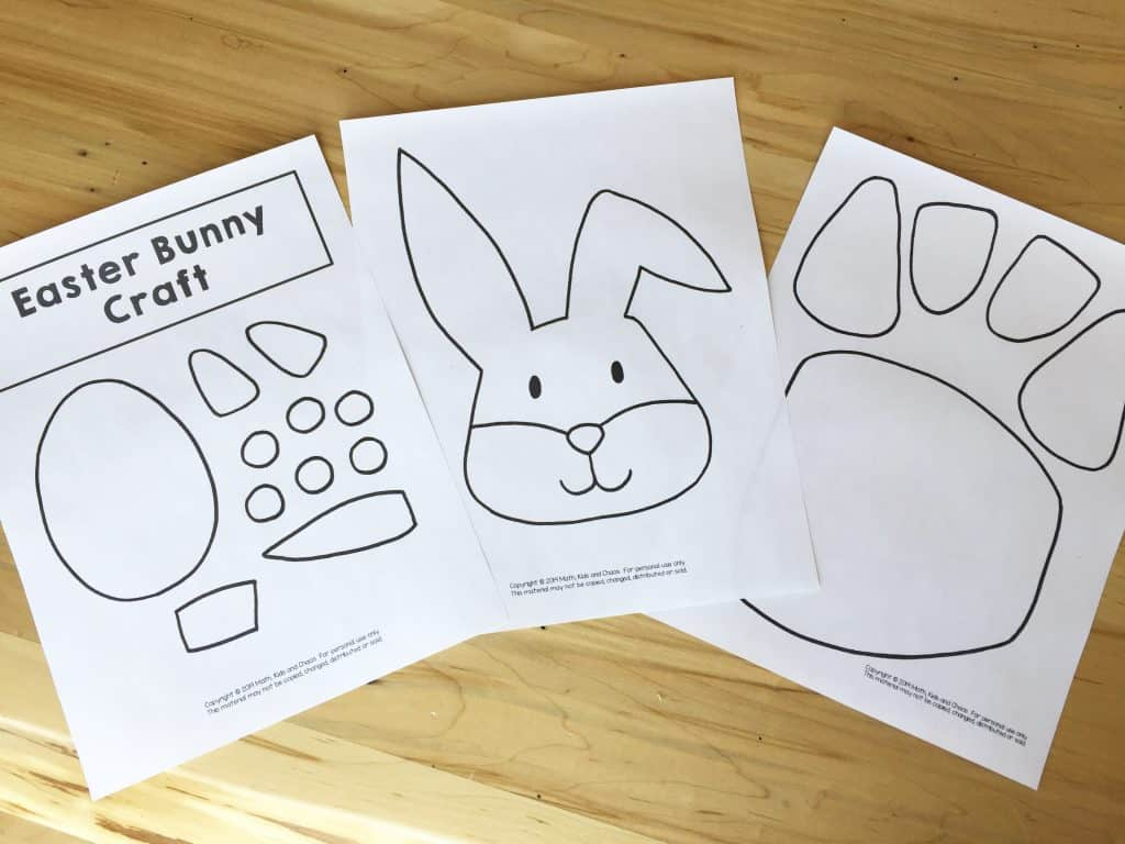 bunny craft template laid out on table