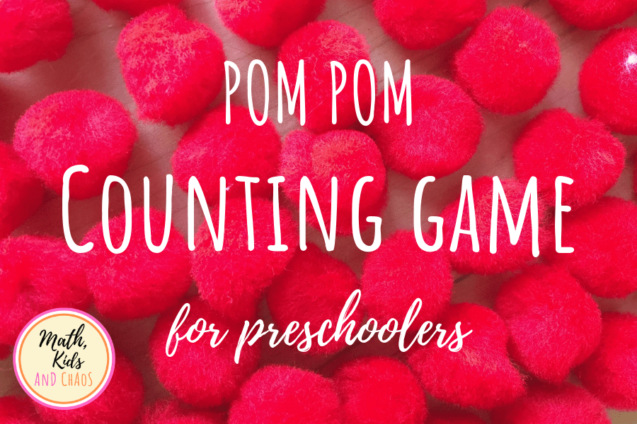 Pom pom counting game for preschoolers.