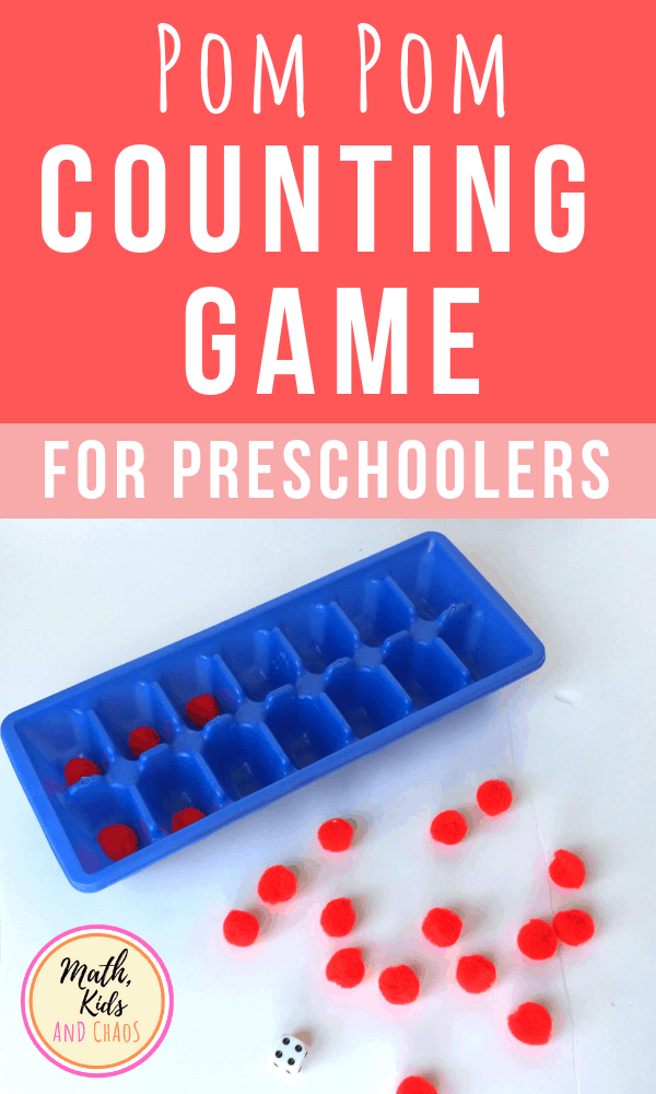 Simple math counting game for young children using pom poms, a dice and ice cube trays.