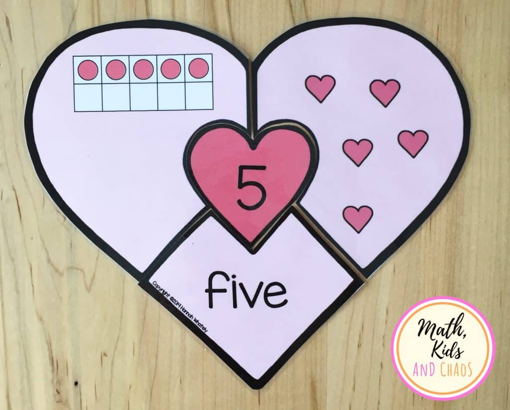 Heart number puzzles by Math, Kids and Chaos