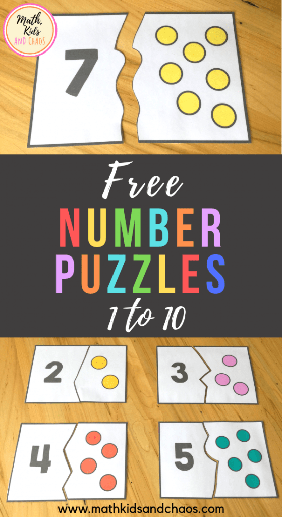 Preschool number puzzles for numbers 1 to 10 (FREEBIE!)
