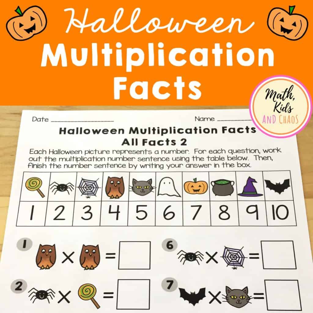 Halloween Multiplication Facts TPT resource front cover
