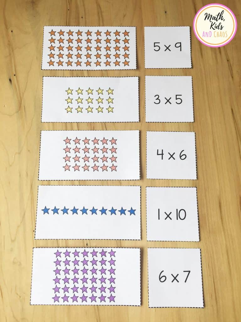 arrays picture cards and corresponding number cards