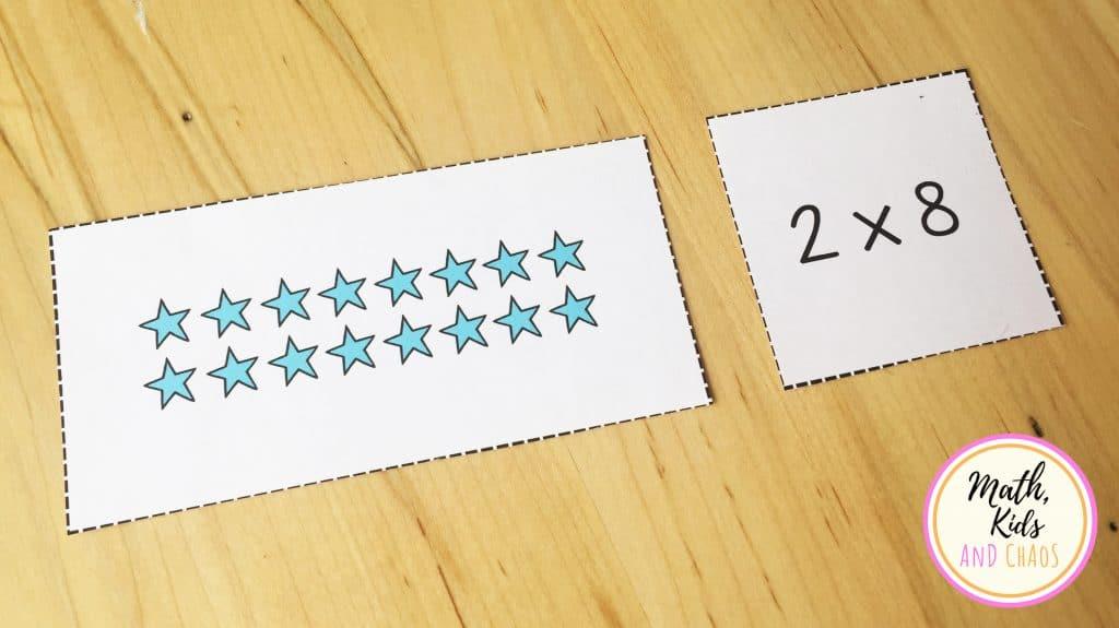 multiplication array matching activity 2 x 8