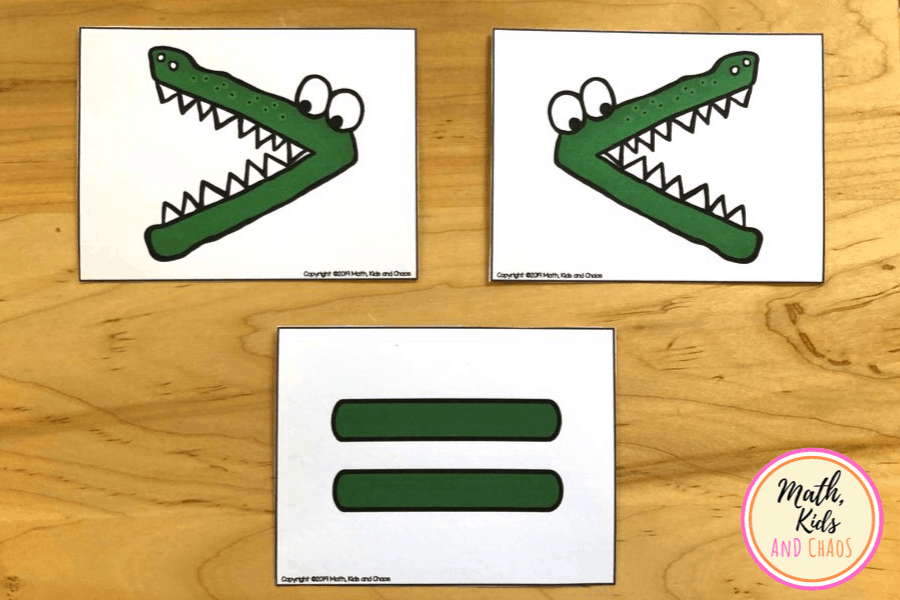 greater than, less than and equals 'crocodile' cards