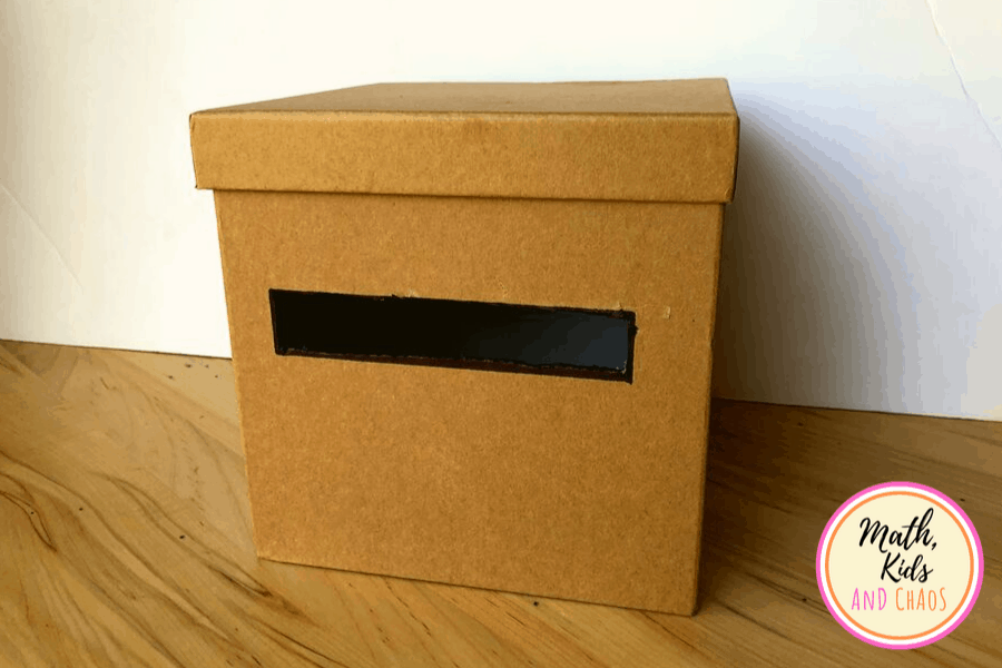 cardboard mailbox for shape sorting activity