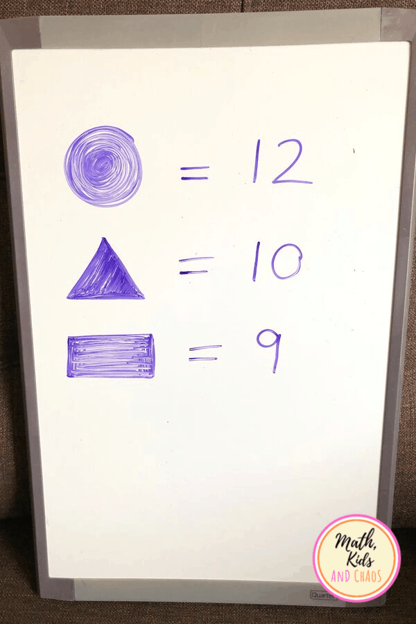 whiteboard with number of shapes recorded.