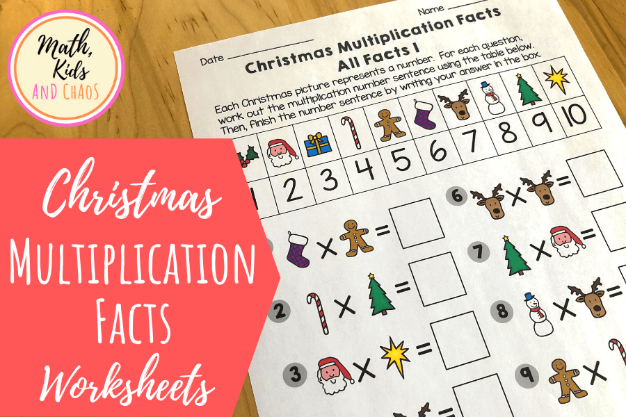 CHRISTMAS MULTIPLICATION FACTS WORKSHEETS FEATURED IMAGE