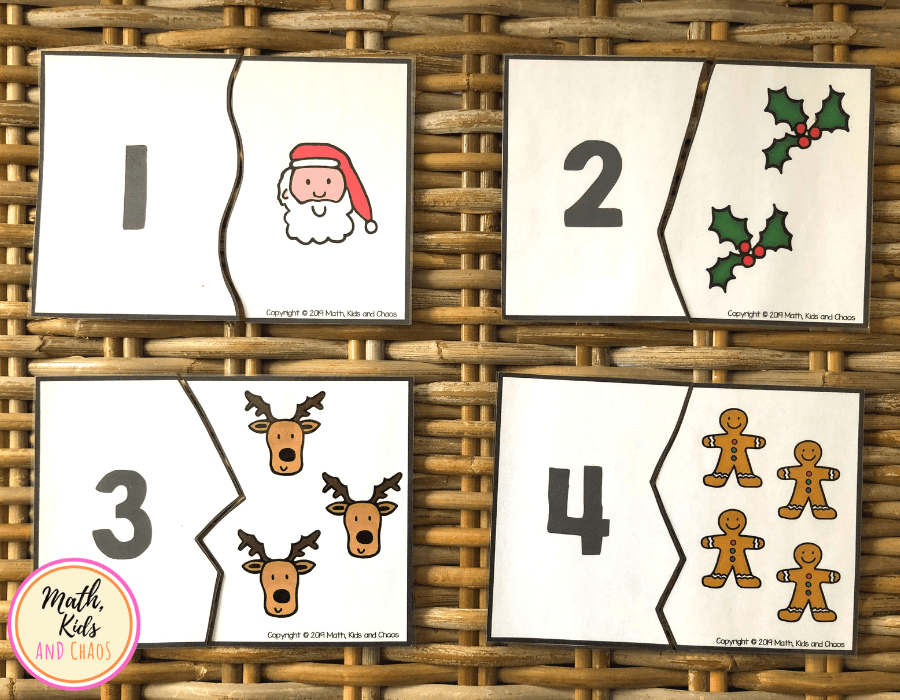 Christmas puzzles for numbers 1 to4