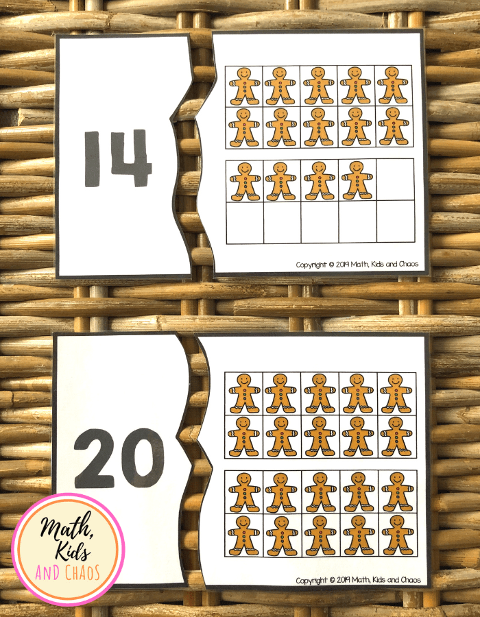 Christmas number puzzles - 14 and 20 shown in ten frames