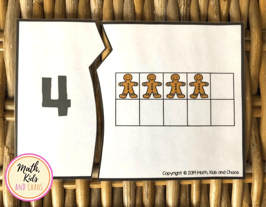 Ten frame number puzzle showing number 4