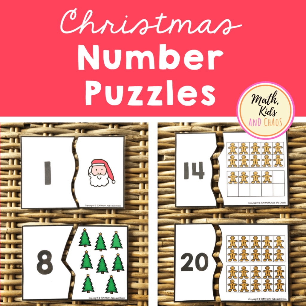 Christmas number puzzles math resource