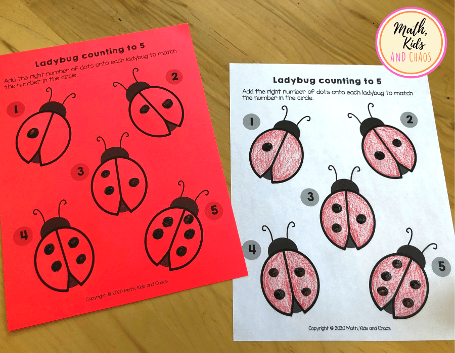 Completed ladybug counting to 5 printables