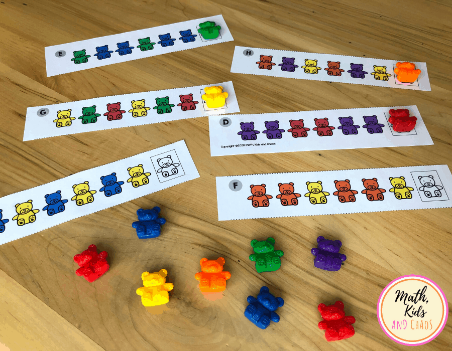 rainbow bear patterns math center and counting bears