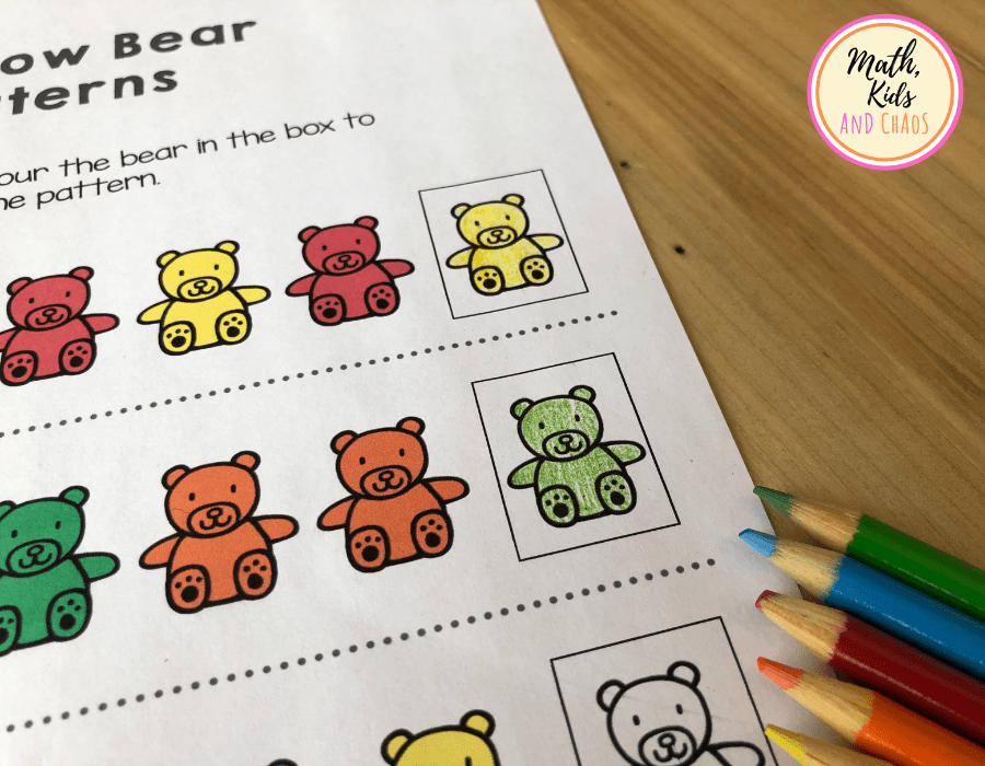 counting bear printable and colouring pencils