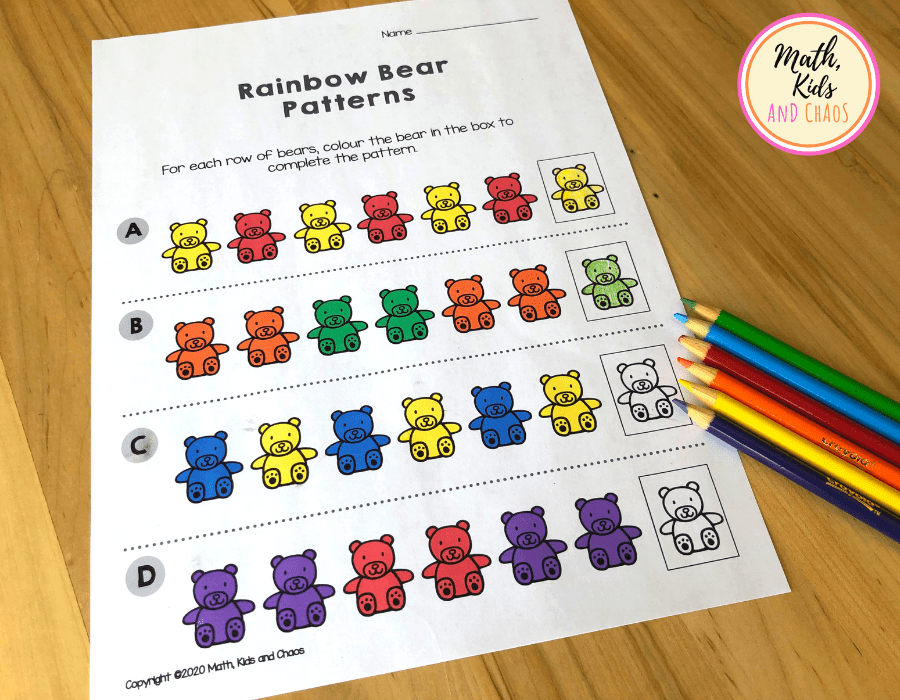 counting bears printables and colouring pencils