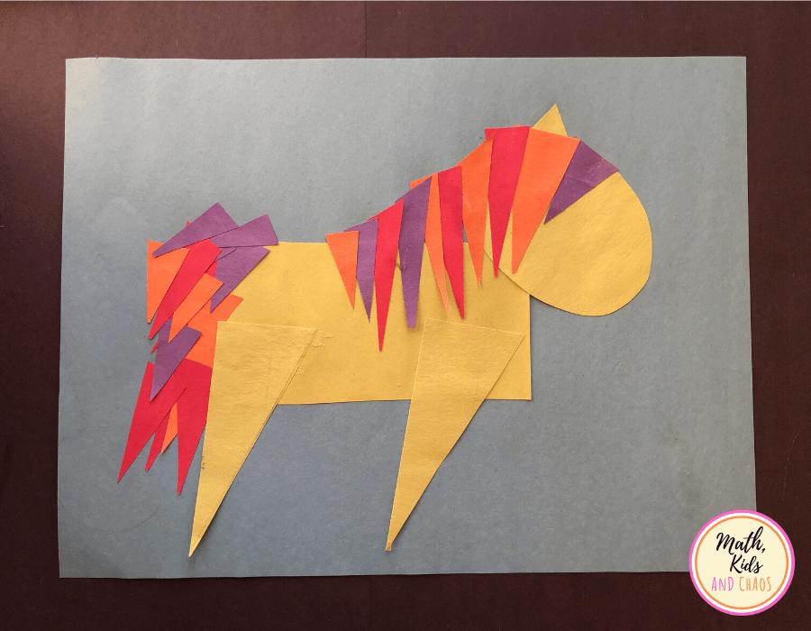 paper unicorn shape craft - adding mane and tail