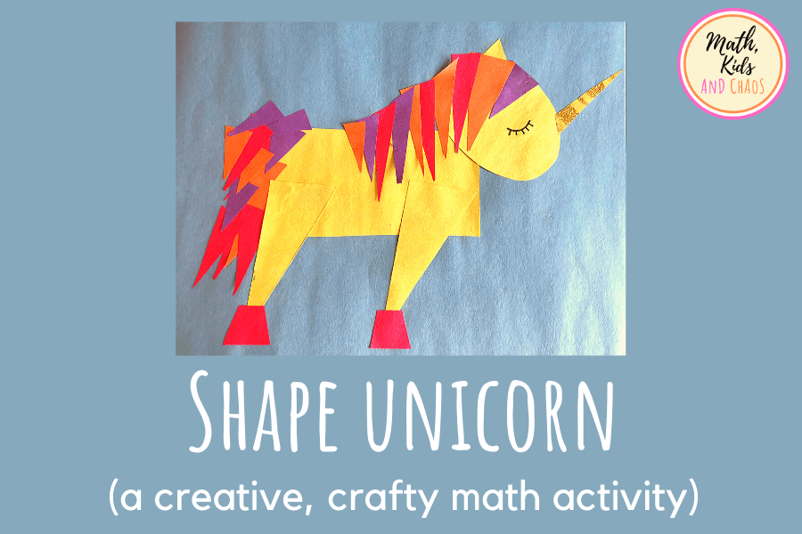 Paper unicorn craft made from 2D shapes