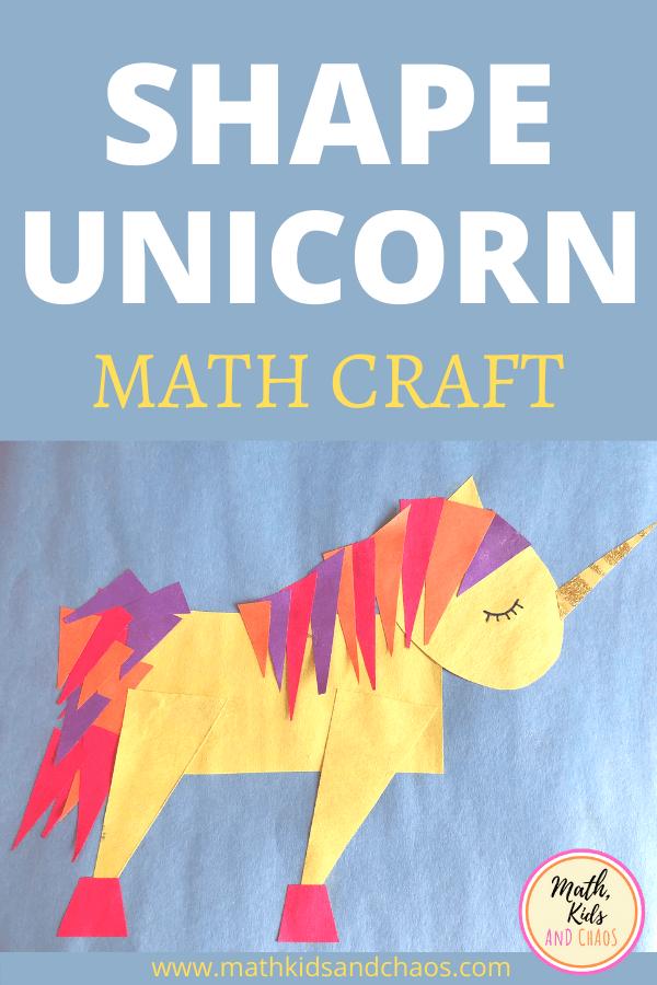 shape unicorn paper craft for kids pin