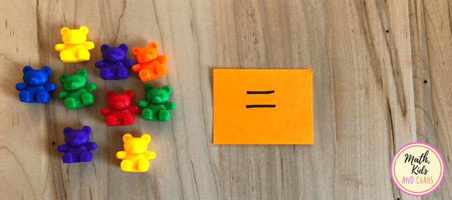 9 counting bears and the equals sign
