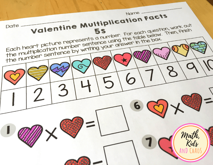 Valentine's Day math worksheets table for numbers 1 to 10