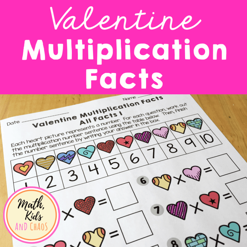 Valentine multiplication facts product cover