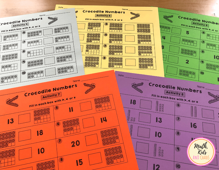 Comparing numbers to 20 'Crocodile Numbers' worksheets