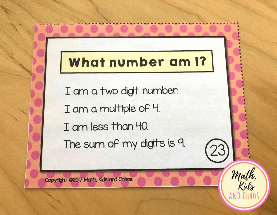 2 digit number riddle task card