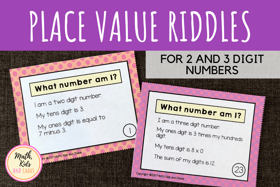 Place value riddles task cards for 2 and 3 digit numbers.