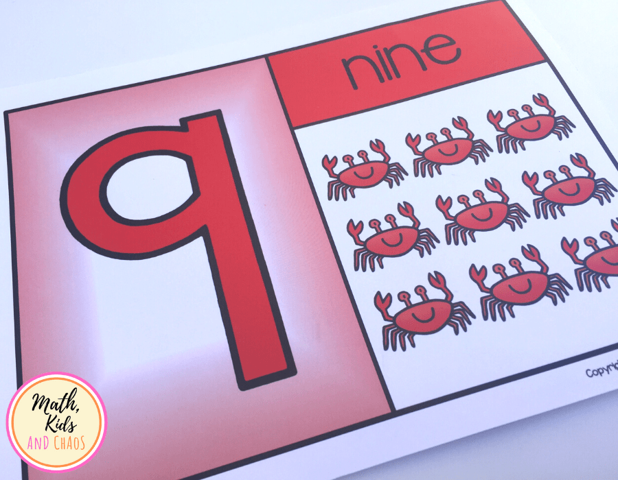 Under the sea number card for number 9