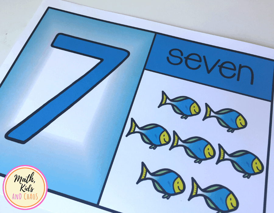 Under the sea themed number card for number 7