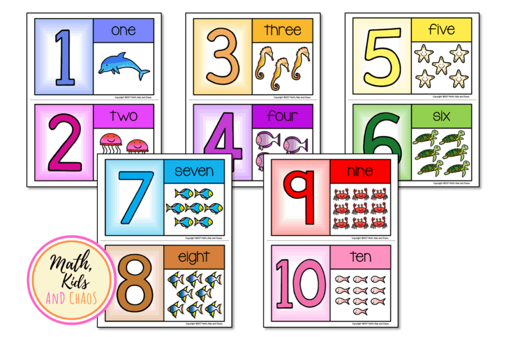 Half page number cards 1 to 10
