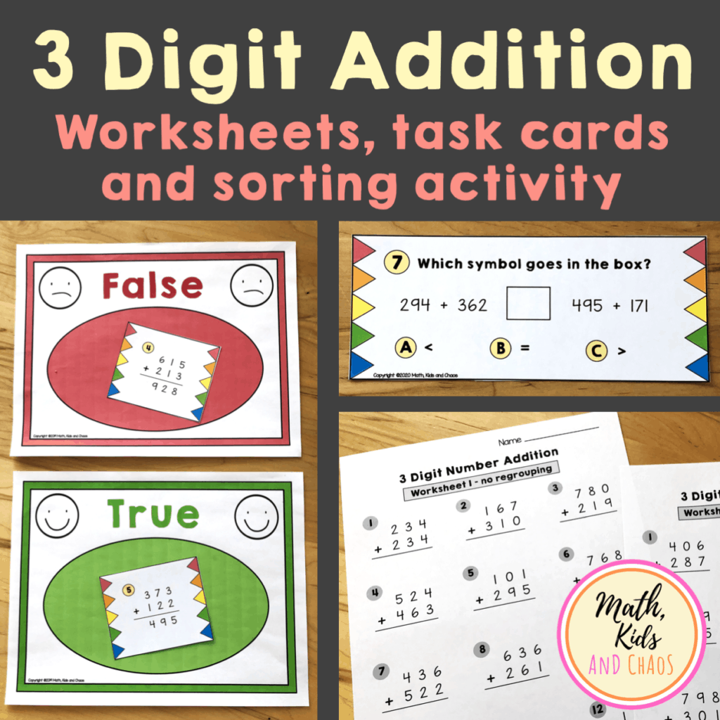 3 digit addition worksheets, task cards and sorting activity product cover