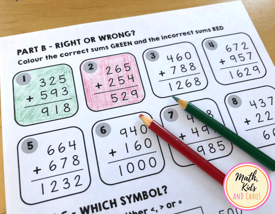 'Right or wrong?' 3 digit addition questions