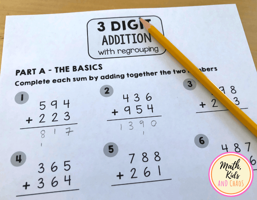 3 digit addition with regrouping worksheet questions