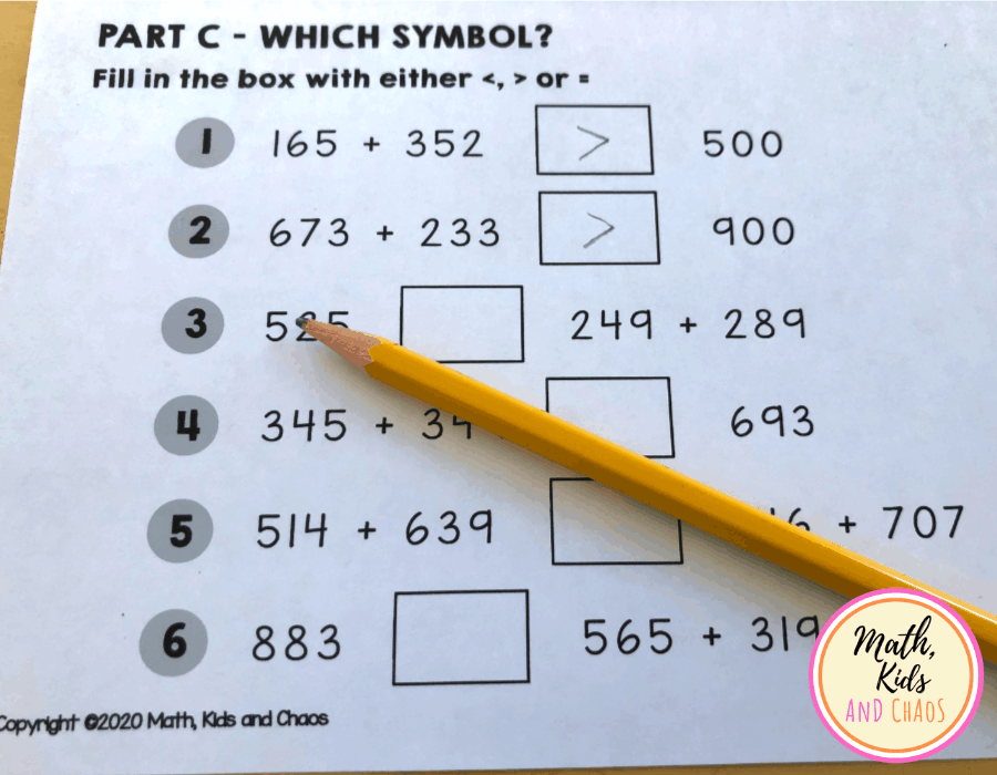 'Which symbol?' 3 digit addition questions