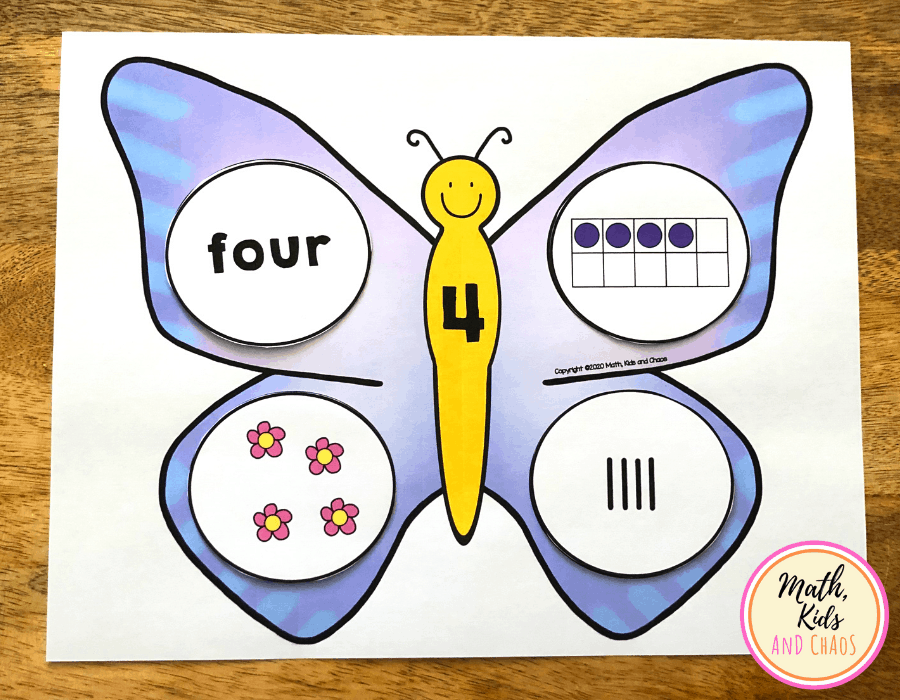 Completed butterfly numbers activity for preschool and kindergarten
