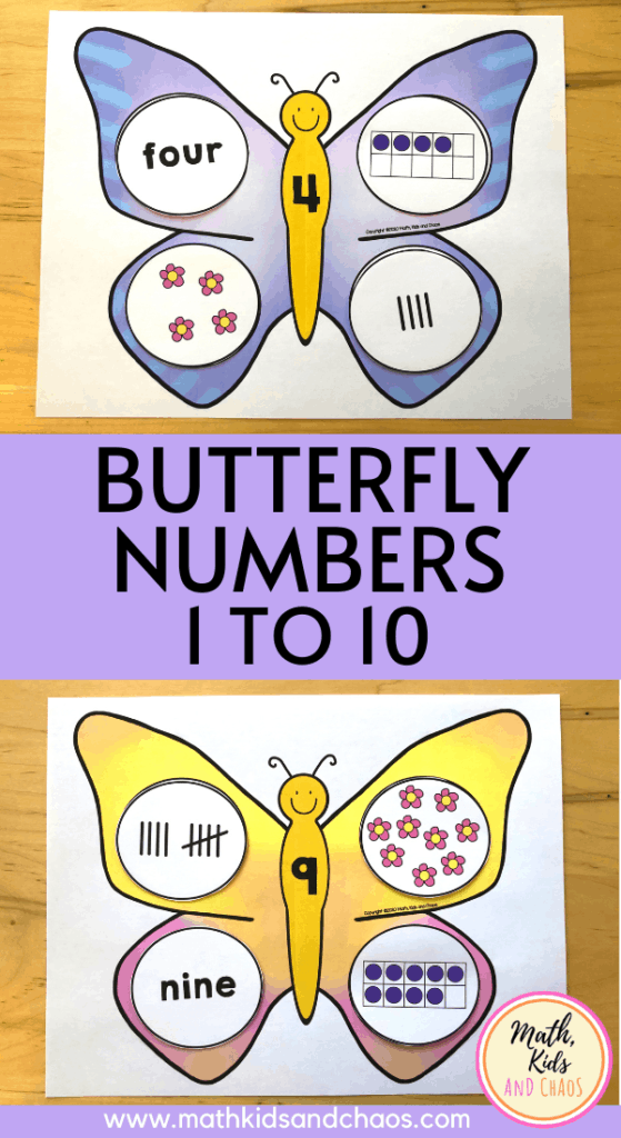 Butterfly numbers math activity for 1 to 10 PIN