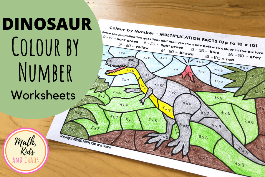 DINOSUAR COLOUR BY NUMBER MATH WORKSHEETS FOR MULTIPLICATION AND DIVISION FACTS