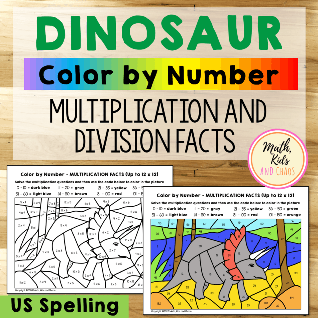 DINOSAUR COLOR BY NUMBER PRODUCT COVER (US SPELLING)