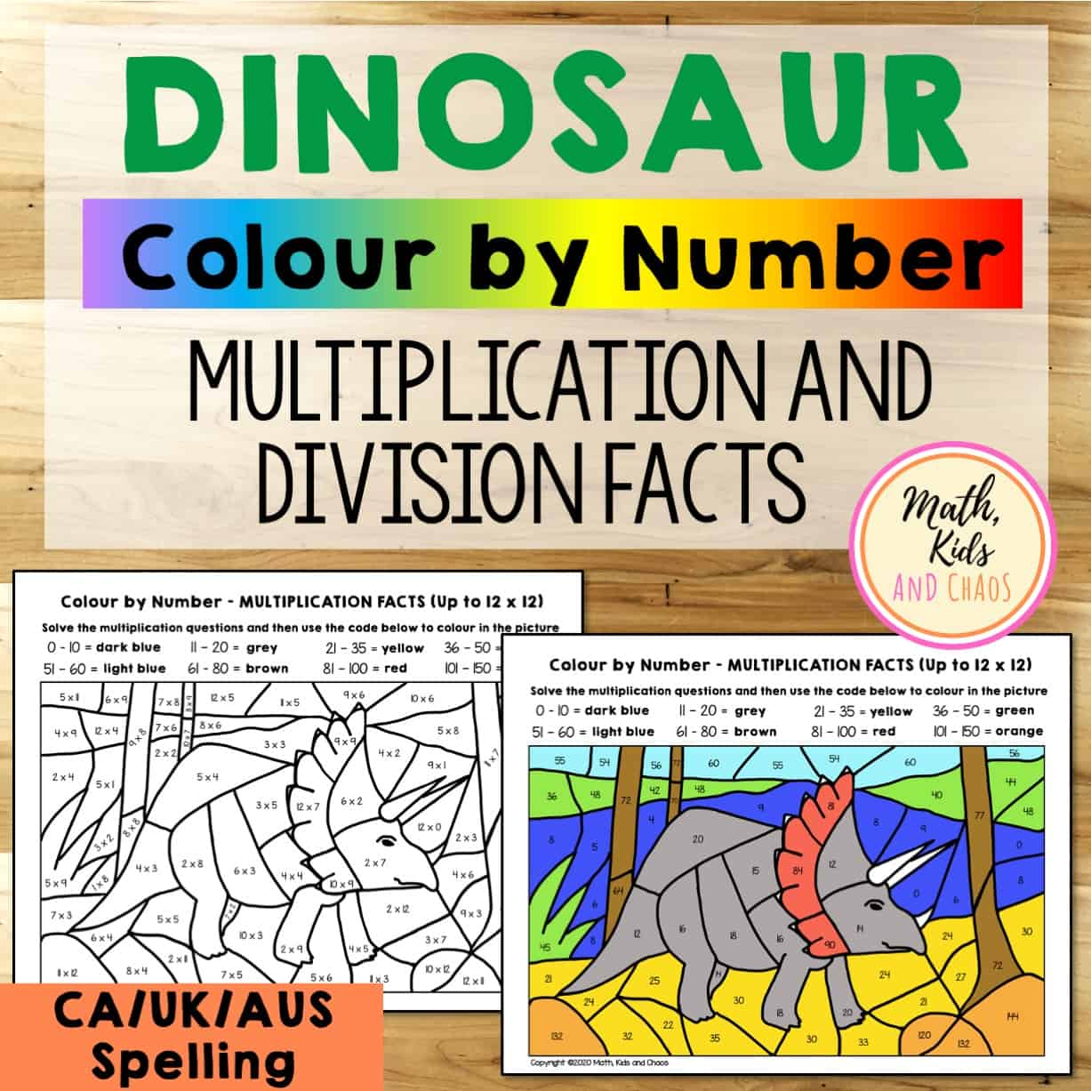 DINOSAUR COLOUR BY NUMBER MATH WORKSHEETS PRODUCT COVER