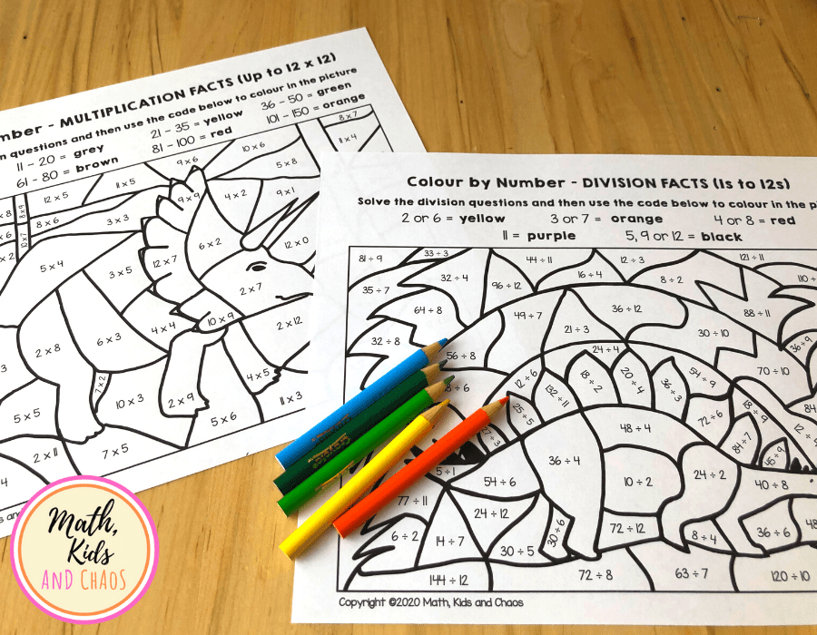 DINOSAUR MATH WORKSHEETS FOR MULTIPLICATION AND DIVISION FACTS UP TO 12S