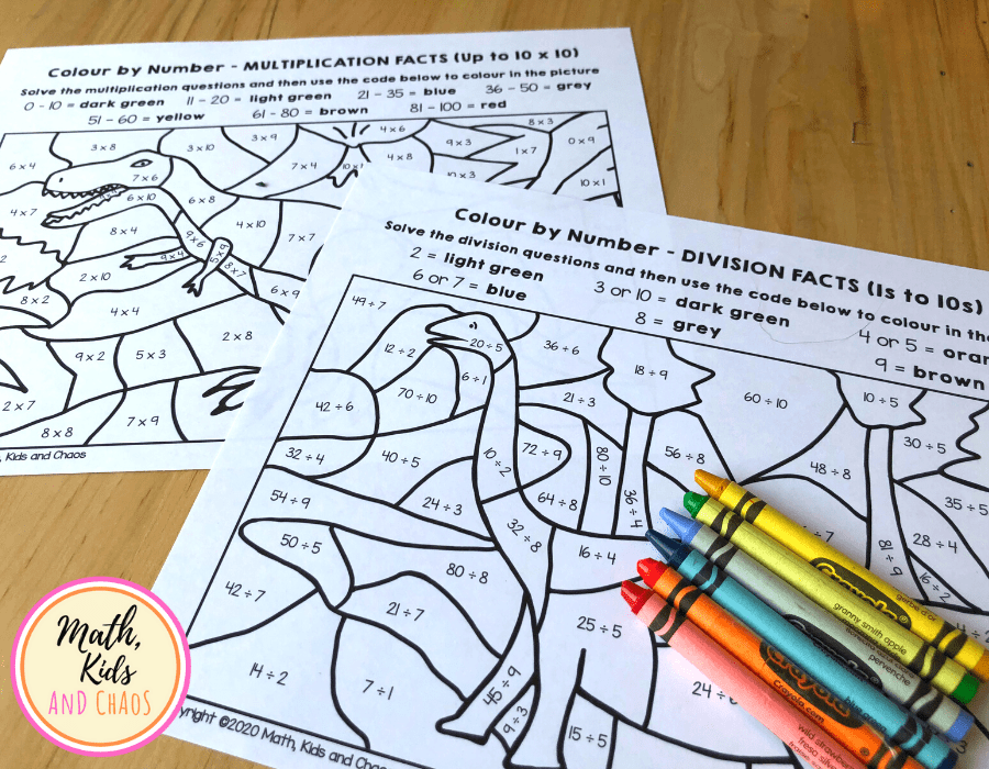 DINOSAUR MATH WORKSHEETS - MULTIPLICATION AND DIVISION FACTS UP TO 10s