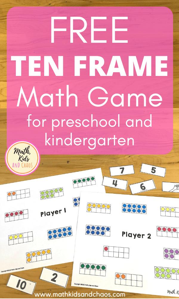 Free ten frame math game for preschool and kindergarten