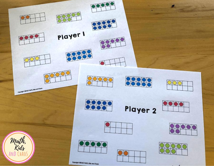 Printable ten frame math game boards