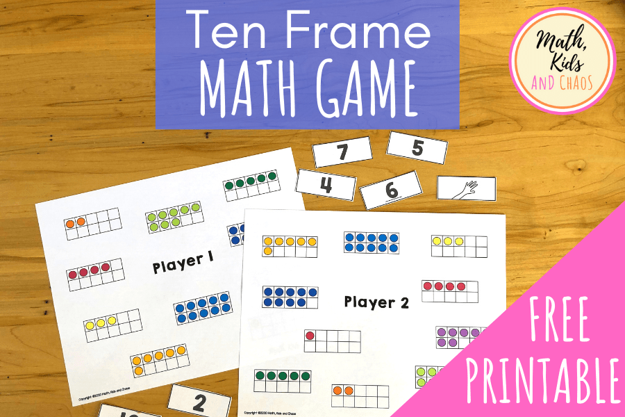 Ten frame math game for preschool and kindergarten